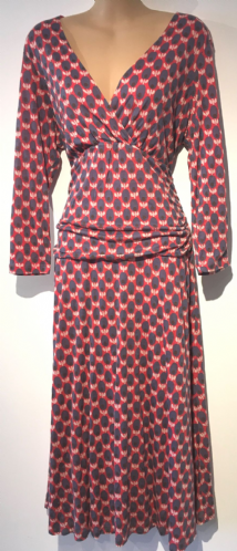 BODEN CORAL/NAVY PRINTED CROSS OVER DRESS SIZE UK 14L
